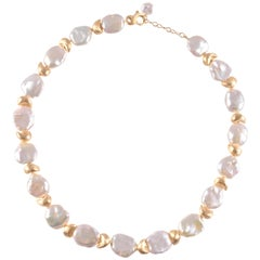 Yvel Keshi Pearl Yellow Gold Necklace from the Satin Finish Collection
