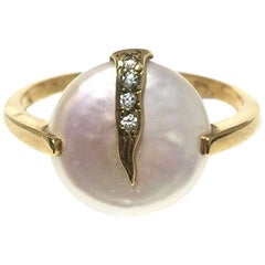 Yvel Pearl and Diamond Ladies Ring R1FLSNY