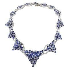 Yvel Sapphire Diamond Necklace in 18 Karat White Gold