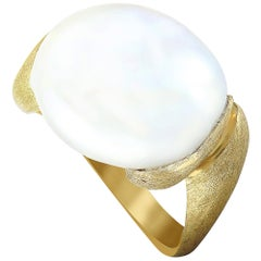 Yvel Yellow Gold and White Freshwater Keshi Pearl Ring