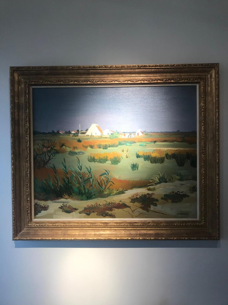 Atmospheric Rural Landscape Painting with Horses 'Champs Vert' by Yves Brayer For Sale 1