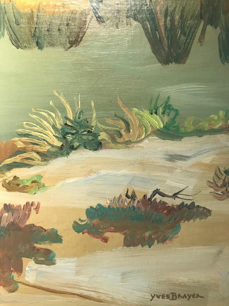 Atmospheric Rural Landscape Painting with Horses 'Champs Vert' by Yves Brayer For Sale 3