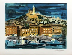 France : Marseille by Night - Original Lithograph Handsigned Numbered