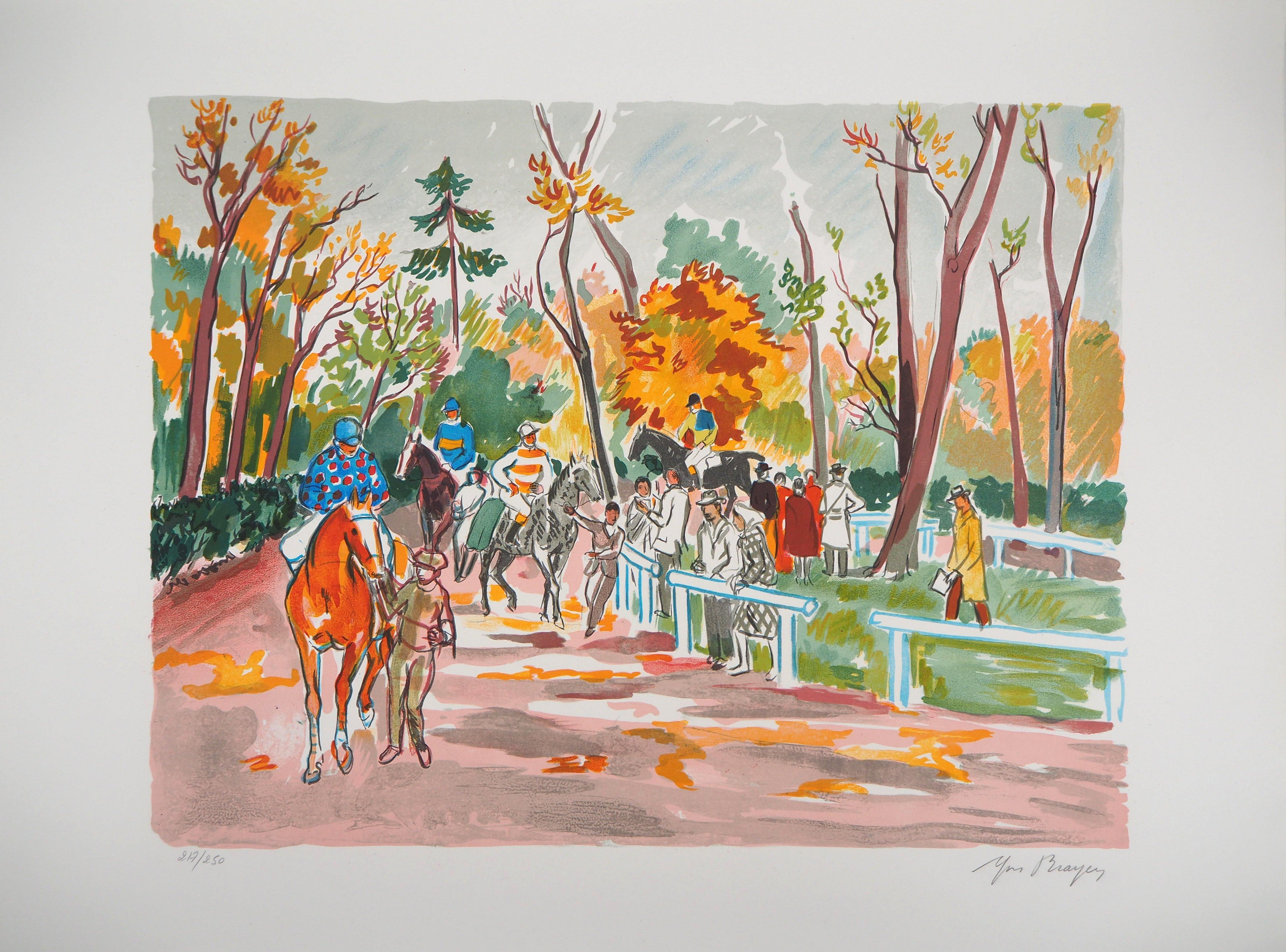 Horseback Riding in the Forest - Original Lithograph Handsigned Numbered