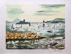 Landscape in French Riviera - Original Lithograph Handsigned Numbered