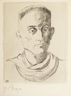 Portrait of Henry de Montherlant - Original Etching by Yves Brayer