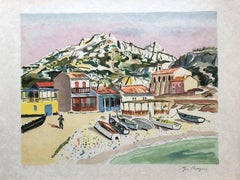 Small Beach in Provence - Original Lithograph Handsigned Numbered