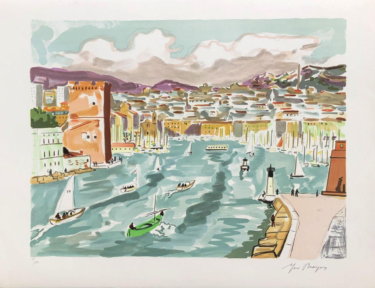 The Old Port of Marseille - Original Lithograph Handsigned Numbered