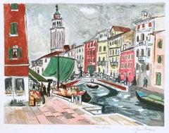 VENICE: MARCHÉ AUX FLEURS Signed Lithograph, Italian Market Scene, Venice Canal