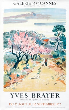 """""""Yves Brayer - Galerie 65 Cannes"""" French Provence Landscape Original poster"""