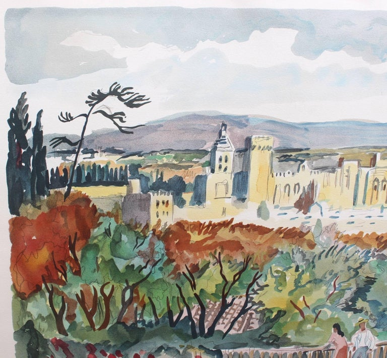 Yves Brayer, 'View of Avignon', Original Artist's Proof Signed Lithograph - Modern Print by Yves Brayer