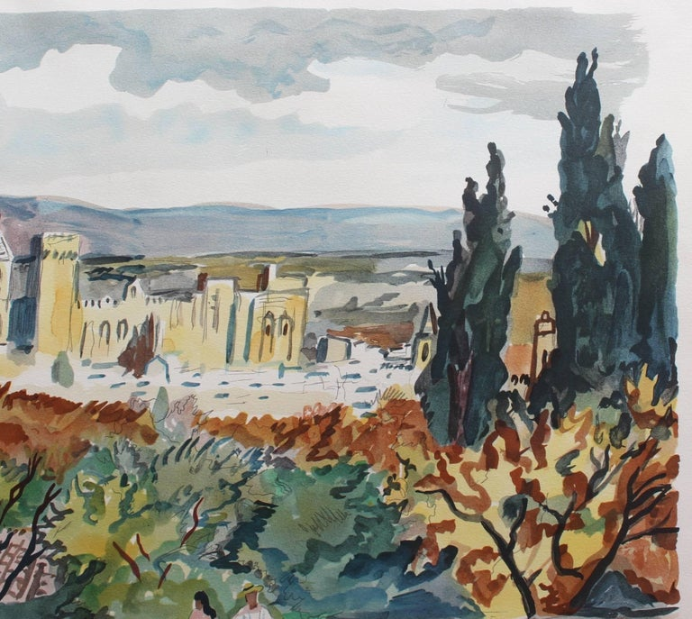 Yves Brayer, 'View of Avignon', Original Artist's Proof Signed Lithograph - Gray Landscape Print by Yves Brayer