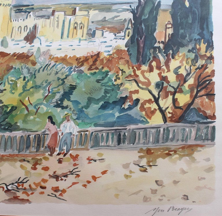 'View of Avignon', original artist's proof signed lithograph (circa 1960s), by Yves Brayer (1907 - 1990). A distant autumnal view of the Papal Palace in the city of Avignon, the seat of Western Christianity in the 14th century, here painted in vivid