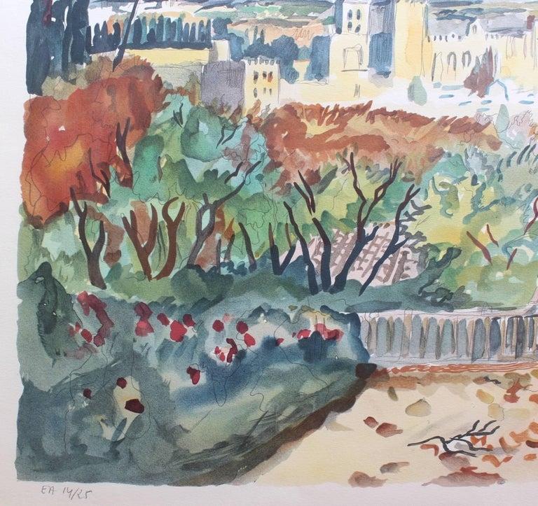 Yves Brayer, 'View of Avignon', Original Artist's Proof Signed Lithograph For Sale 1