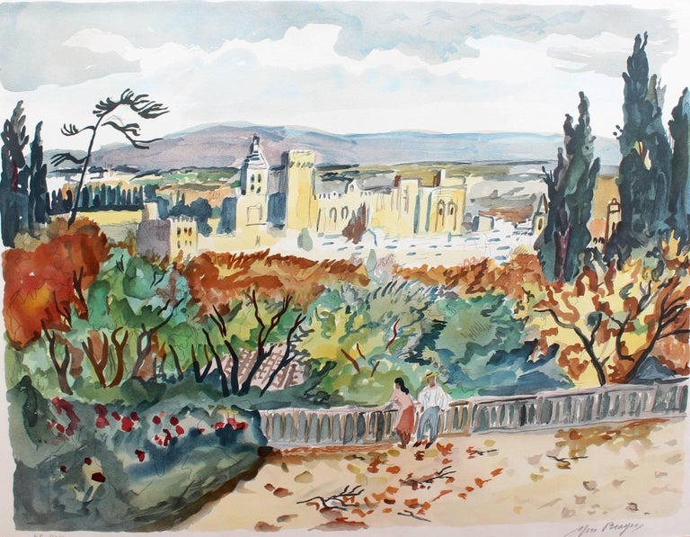 Yves Brayer, 'View of Avignon', Original Artist's Proof Signed Lithograph - Print by Yves Brayer