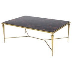 Yves Coffee Table Hammered Brass Base with Pieced Agate Top
