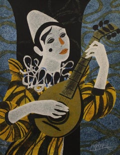 """Clown Blanc a la Mandolin"" Limited Edition Lithograph 53/250, Signed by Artist"
