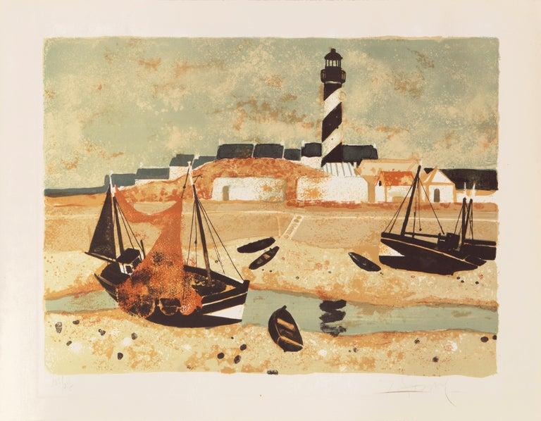 'Low Tide, Brittany', Musée d'Art Moderne, Paris, Ecole des Beaux-Arts, Benezit - Print by Yves Ganne