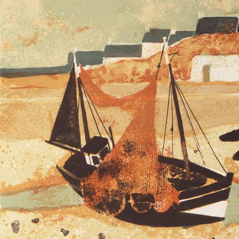 'Low Tide, Brittany', Musée d'Art Moderne, Paris, Ecole des Beaux-Arts, Benezit - Beige Landscape Print by Yves Ganne