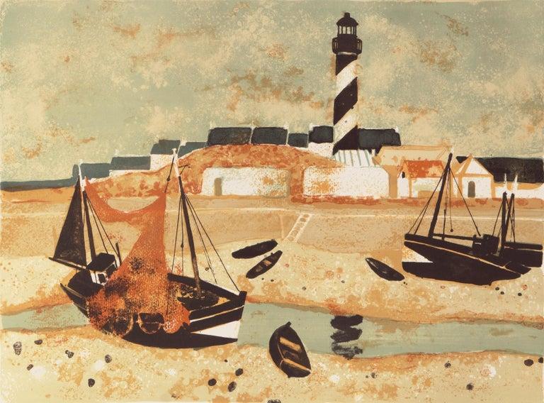 Yves Ganne Landscape Print - 'Low Tide, Brittany', Musée d'Art Moderne, Paris, Ecole des Beaux-Arts, Benezit