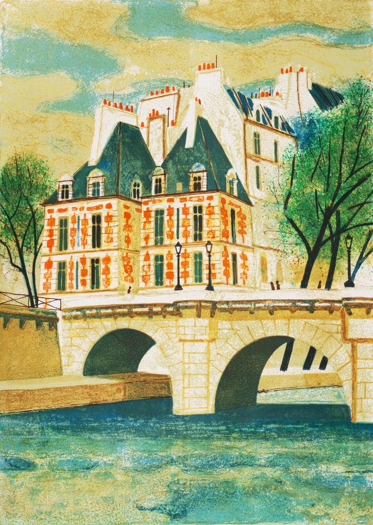 Yves Ganne Landscape Print - 'Paris, The Pont Neuf', Post-Impressionist, Fernand Léger, Musée d'Art Moderne