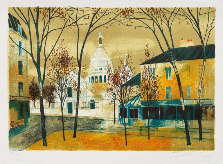 'Place du Tertre, Montmartre', Paris, Ecole des Beaux-Arts, Musée d'Art Moderne - Print by Yves Ganne