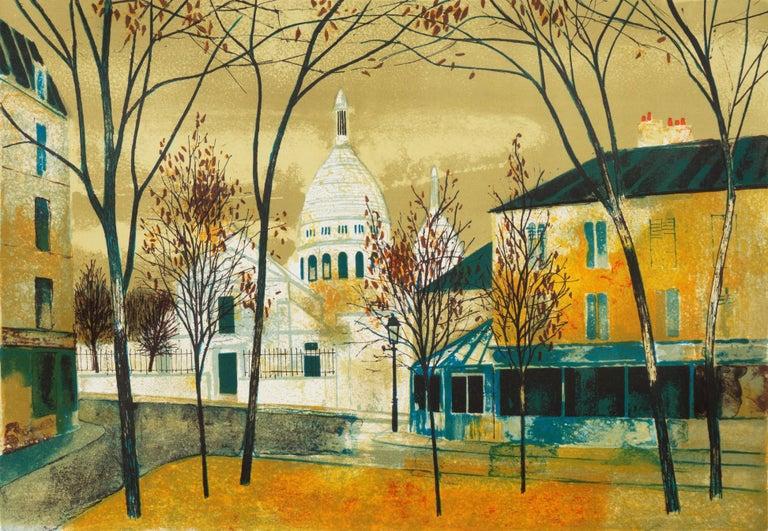 Yves Ganne Landscape Print - 'Place du Tertre, Montmartre', Paris, Ecole des Beaux-Arts, Musée d'Art Moderne