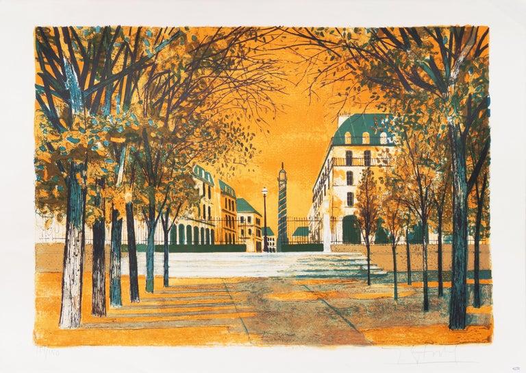 Post Impressionist View of the Place Vendôme, Paris   - Print by Yves Ganne