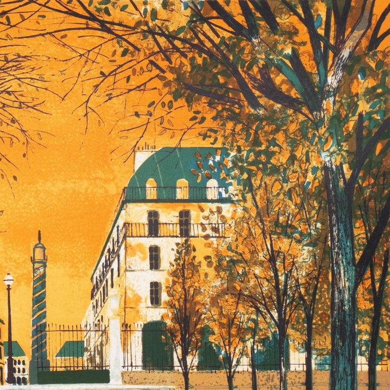 Post Impressionist View of the Place Vendôme, Paris   - Brown Landscape Print by Yves Ganne