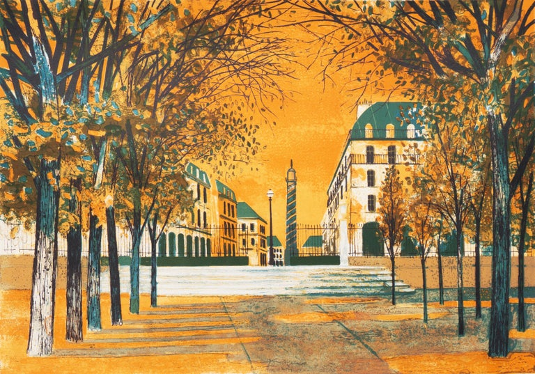 Yves Ganne Landscape Print - Post Impressionist View of the Place Vendôme, Paris