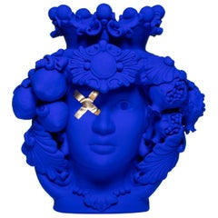 Yves Klein Blue and Gold Leaf Sicilian Vase, Designed by Stefania Boemi