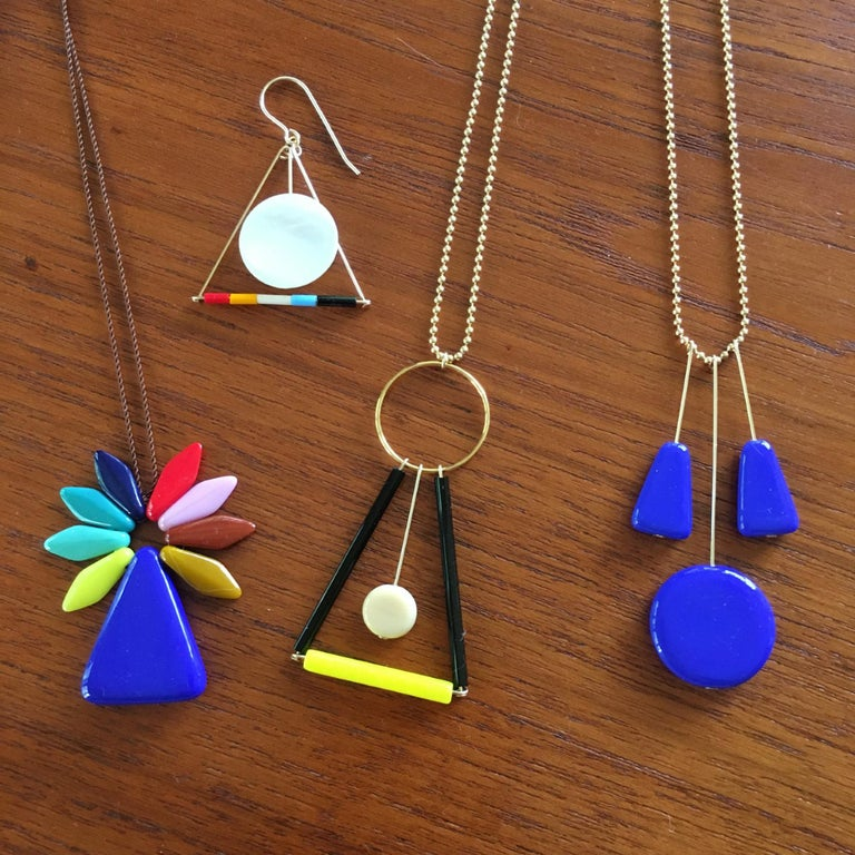 Retro Yves Klein Blue Pendant Necklace For Sale