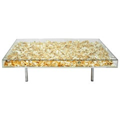 """Yves Klein Gold """"Monogold"""" French Coffee Table"""