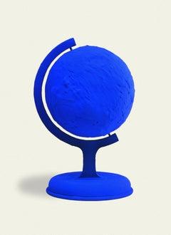 Yves Klein Blue Earth Sculpture IKB Pigment Plaster Cast in Plexiglas Box