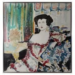 Yves Leduc 'American, 20th Century' Oil Portrait of an Elegant Woman