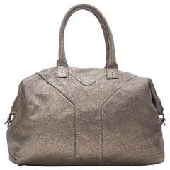 YVES SAINT LAUREN Easy Y metallic silver leather top handle shoulder boston bag