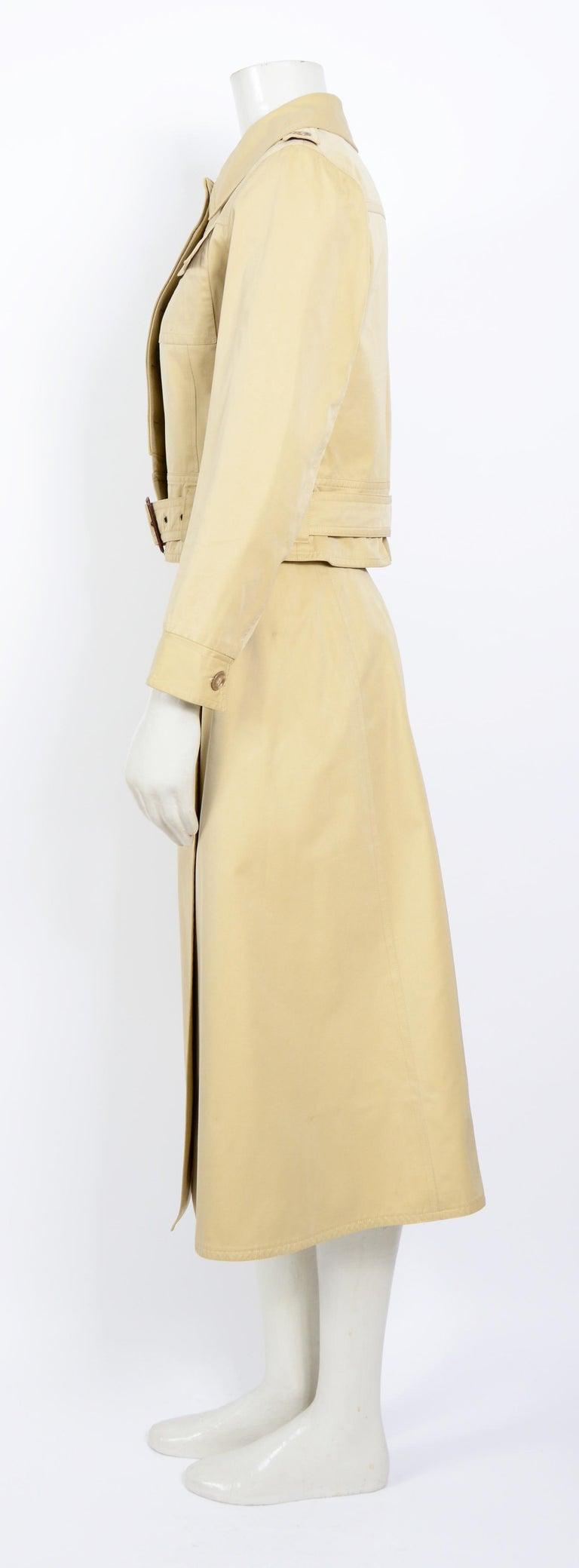 Beige Yves Saint Laurent 1969 collection safari suit as seen on Loulou de la Falaise For Sale