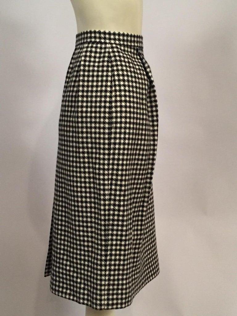 Yves Saint Laurent 1970's Black & White Wool Check Skirt  3