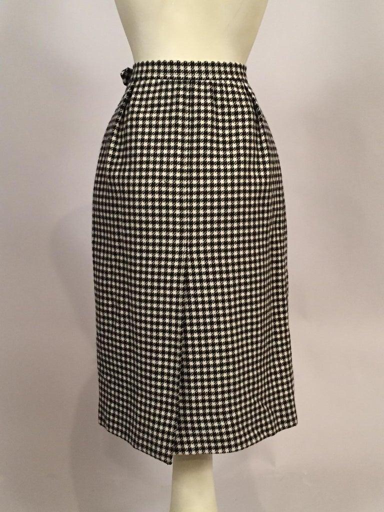 Yves Saint Laurent 1970's Black & White Wool Check Skirt  4