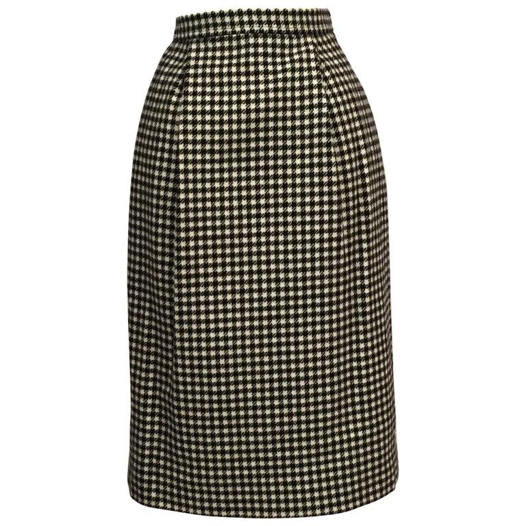 Yves Saint Laurent 1970's Black & White Wool Check Skirt  1