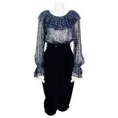 Yves Saint Laurent 1970s bleu chiffon metallic dot blouse and velvet pants set