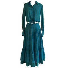 Yves Saint Laurent 1970s Blue Paisley Ruffle Prairie Skirt and Top Set