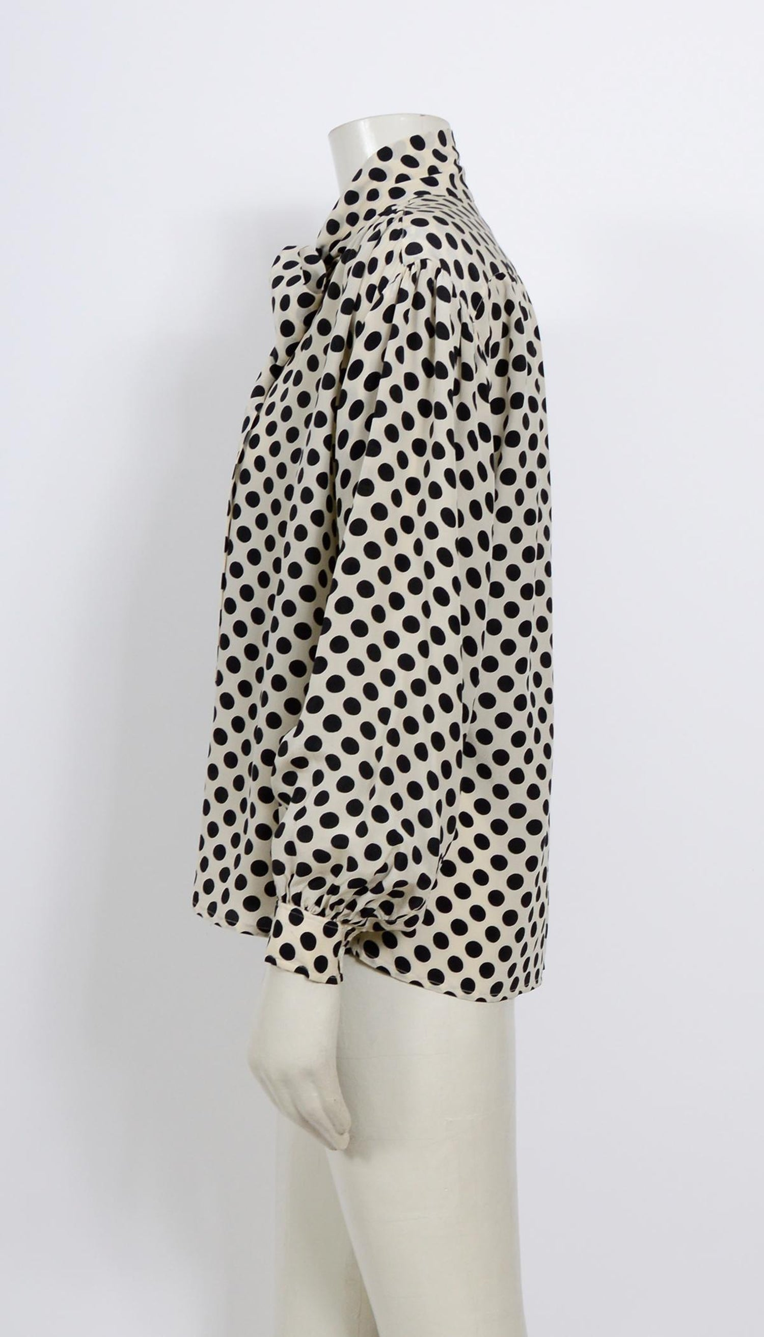 8073bae2 Yves Saint Laurent 1970s documented silk black and white dot pussy bow  blouse For Sale at 1stdibs