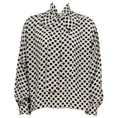 Yves Saint Laurent 1970s documented silk black & white dot pussy bow blouse