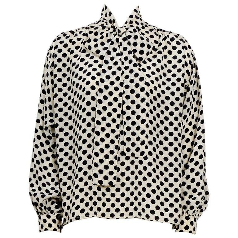 2198f269 Yves Saint Laurent 1970s documented silk black & white dot pussy bow blouse  For Sale