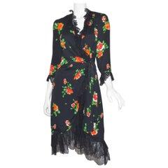 Yves Saint Laurent 1970's Floral Print Wrap Dress with Lace