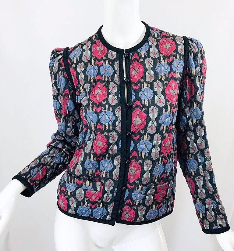 Yves Saint Laurent 1970s Ikat Print Silk Vintage 70s Quilted Lightweight Jacket  For Sale 6