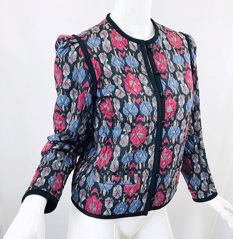 Yves Saint Laurent 1970s Ikat Print Silk Vintage 70s Quilted Lightweight Jacket  For Sale 8
