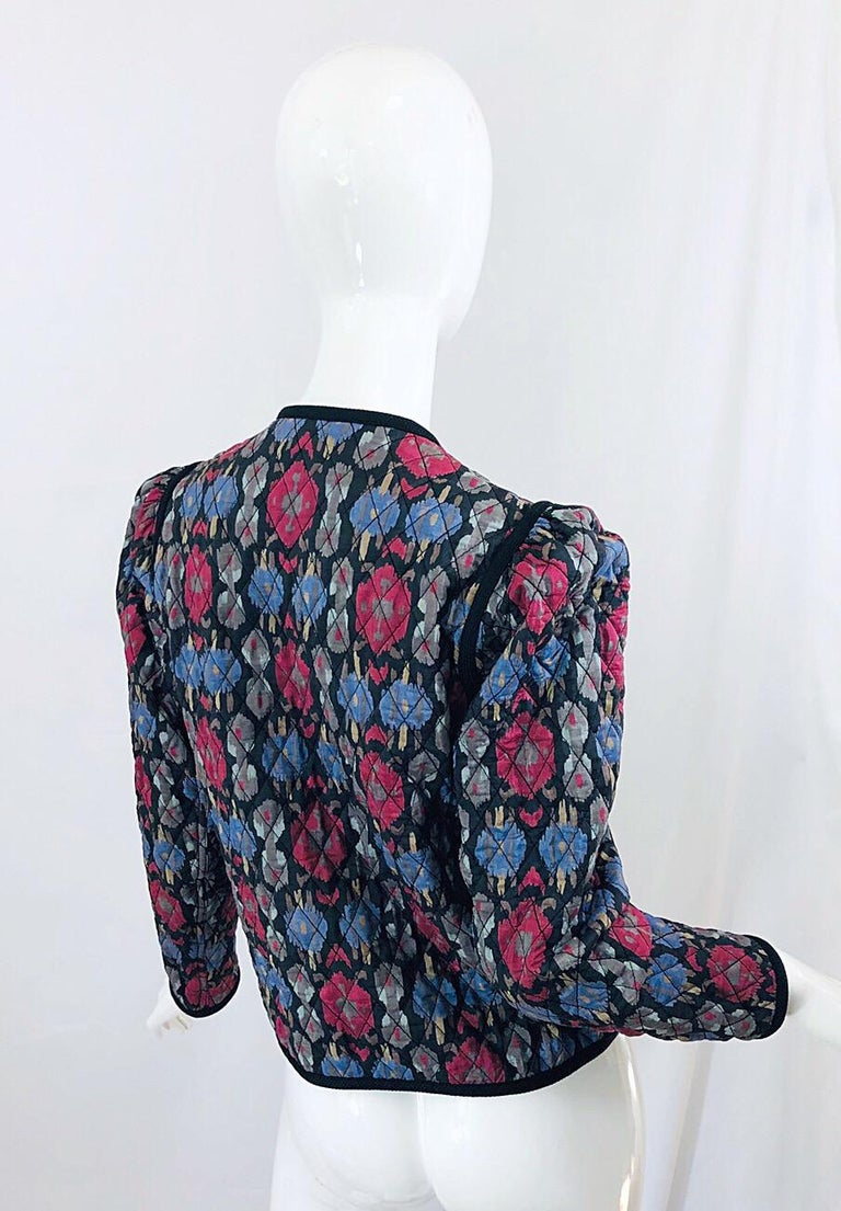 Yves Saint Laurent 1970s Ikat Print Silk Vintage 70s Quilted Lightweight Jacket  For Sale 10