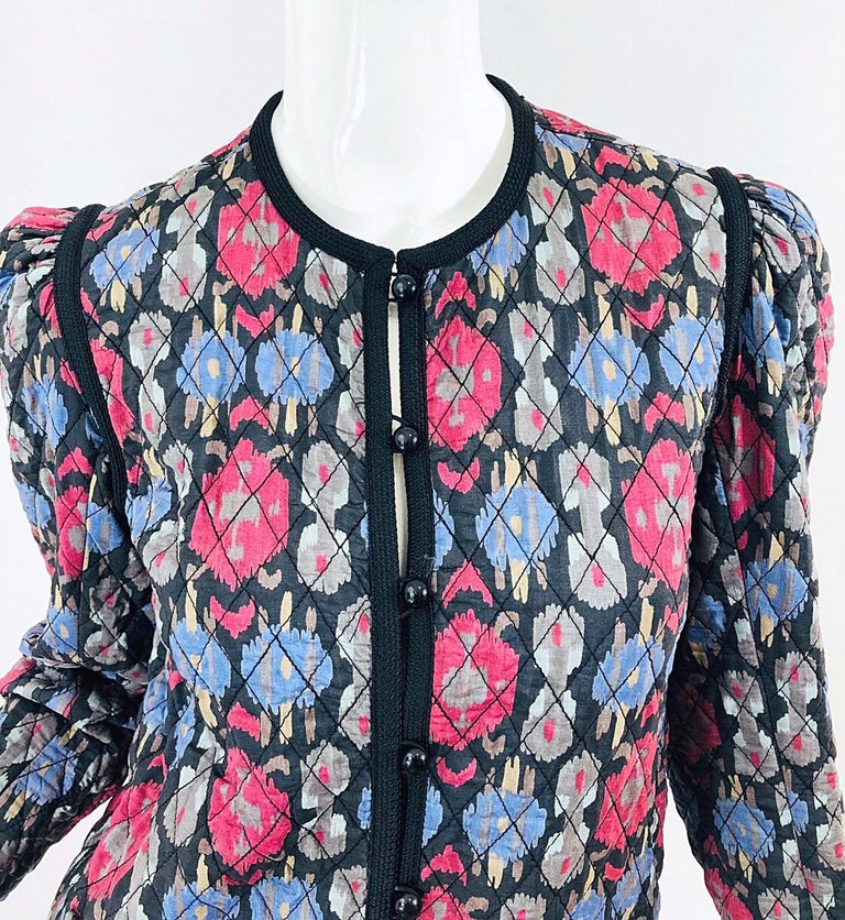 Yves Saint Laurent 1970s Ikat Print Silk Vintage 70s Quilted Lightweight Jacket  For Sale 11